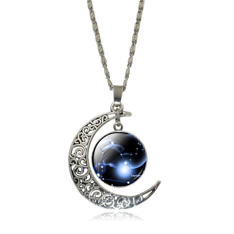 Crescent moon necklace astrology gifts capricorn gemini crescent moon necklace aloadofball Choice Image