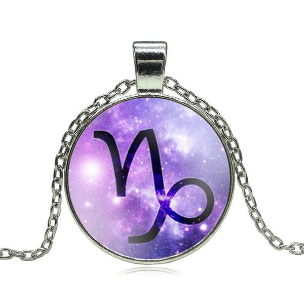 Capricorn Purple Medallion Necklace