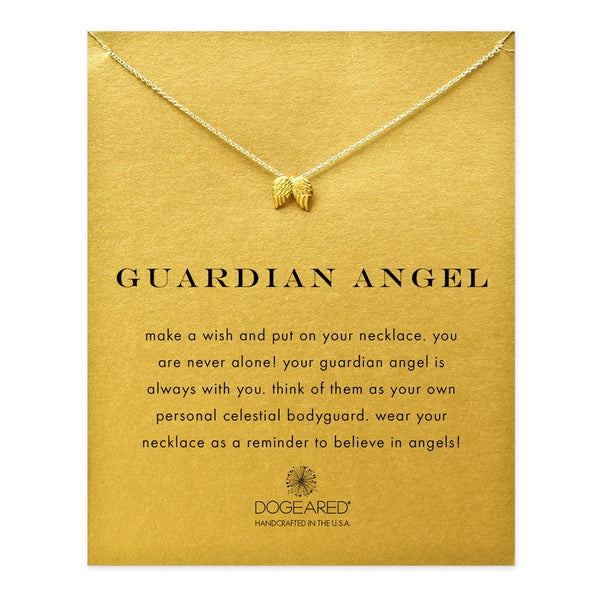 Dainty Gold Necklace with Angel Wings and Gift Card