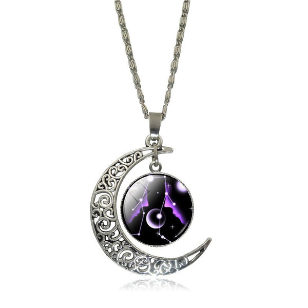 Gemini Crescent Moon Necklace