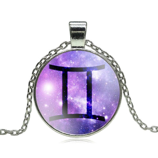 Gemini Purple Medallion Necklace
