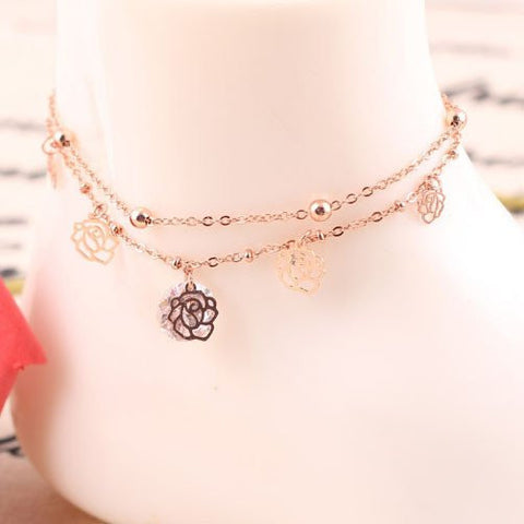 Gold Anklet with Flower Charms