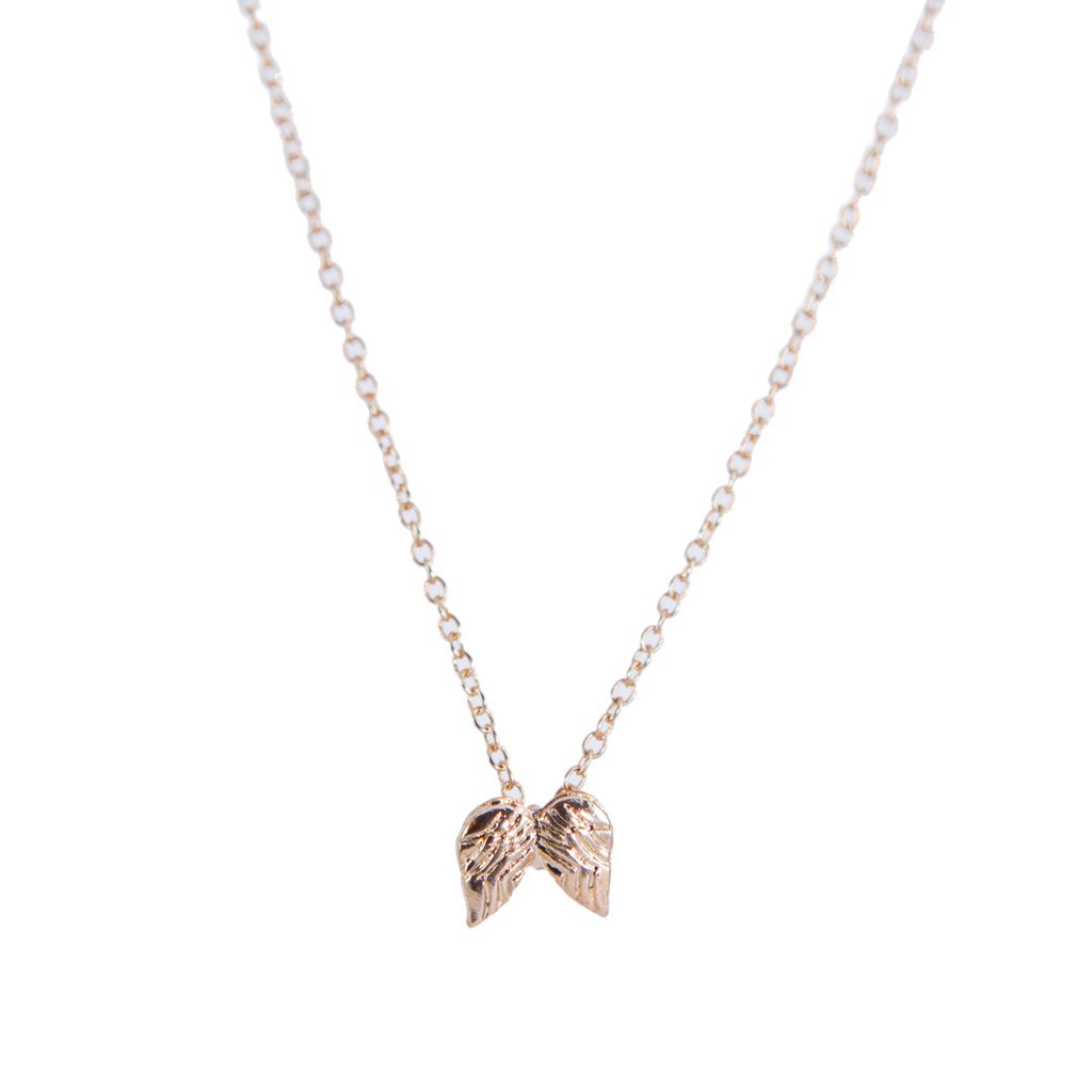 Gold Dainty Necklace with Angel Wings