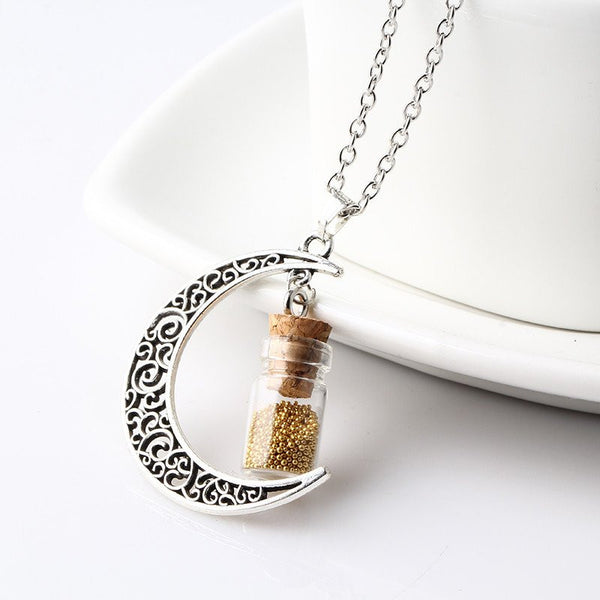 Golden Crescent Moon Necklace with Wishing Beads