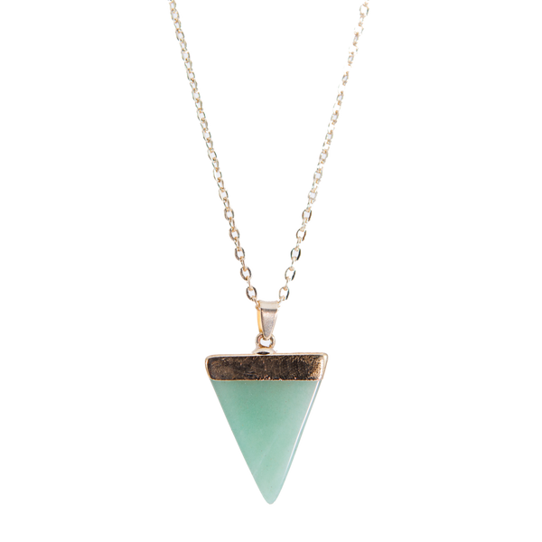Green Gold Necklace with Triangle Stone Pendant
