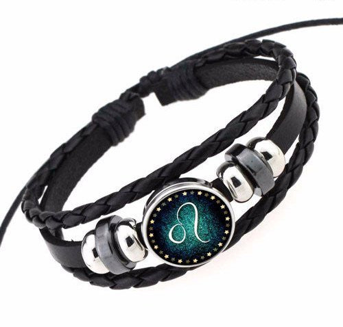 Leo Black Leather Zodiac Bracelet