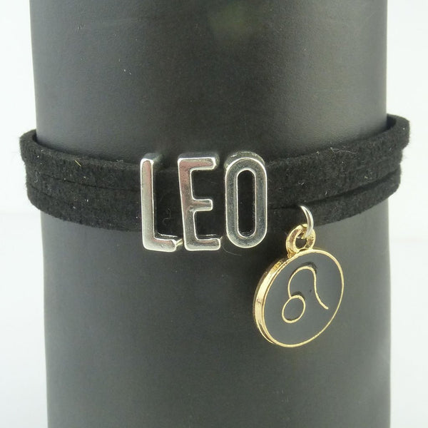 Leo Black and Silver Zodiac Charm Bracelet