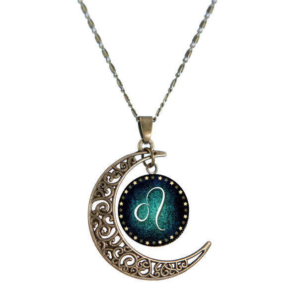 Leo Bronze Crescent Moon Necklace