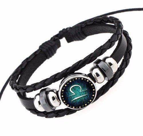 Libra Black Leather Zodiac Bracelet