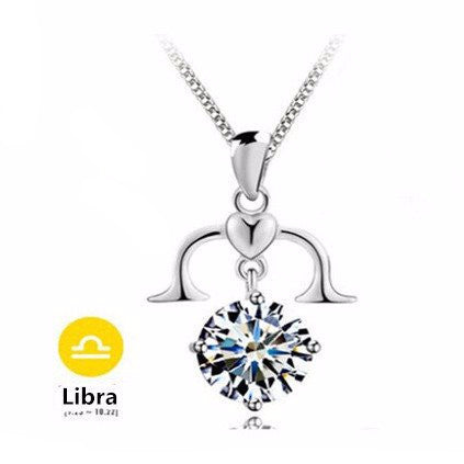 Libra Silver Zodiac Necklace