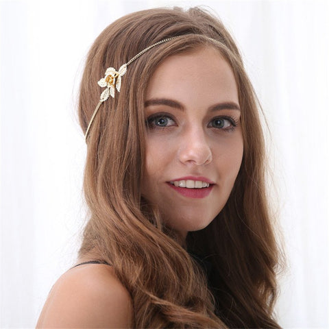 Lovely Gold Head Chain with Flower