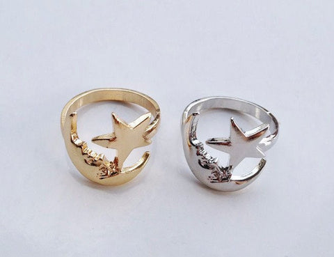 Lucky Moon and Star Ring