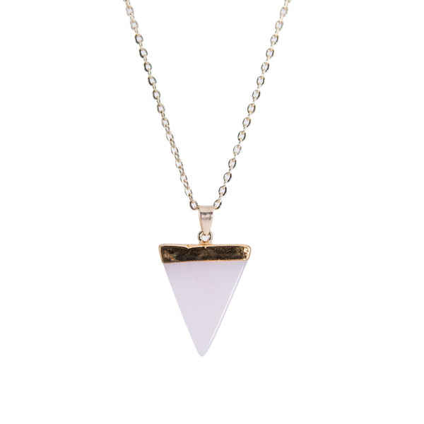 Pink Gold Necklace with Triangle Stone Pendant