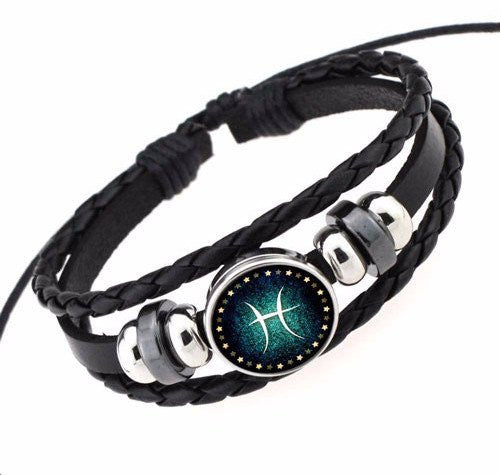 Pisces Black Leather Zodiac Bracelet