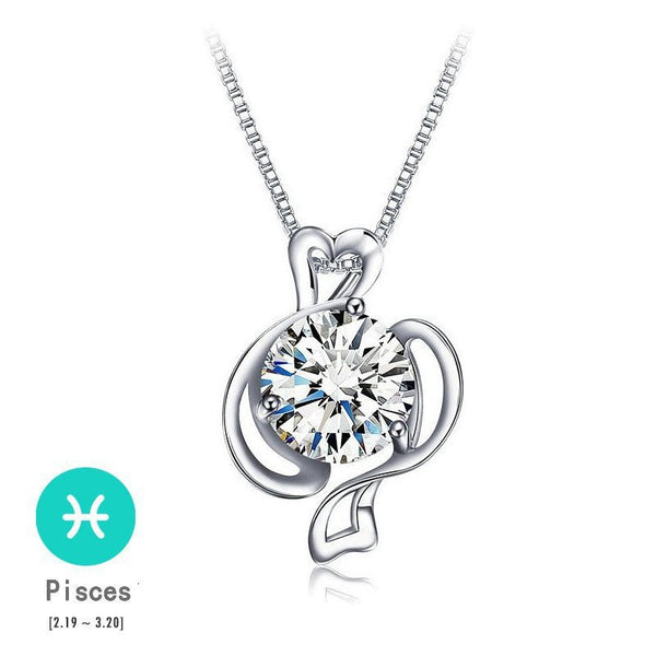 Pisces Silver Zodiac Necklace