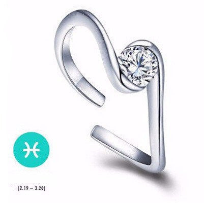 Pisces Silver Zodiac Ring