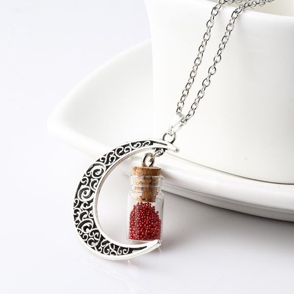 Red Crescent Moon Necklace with Wishing Beads