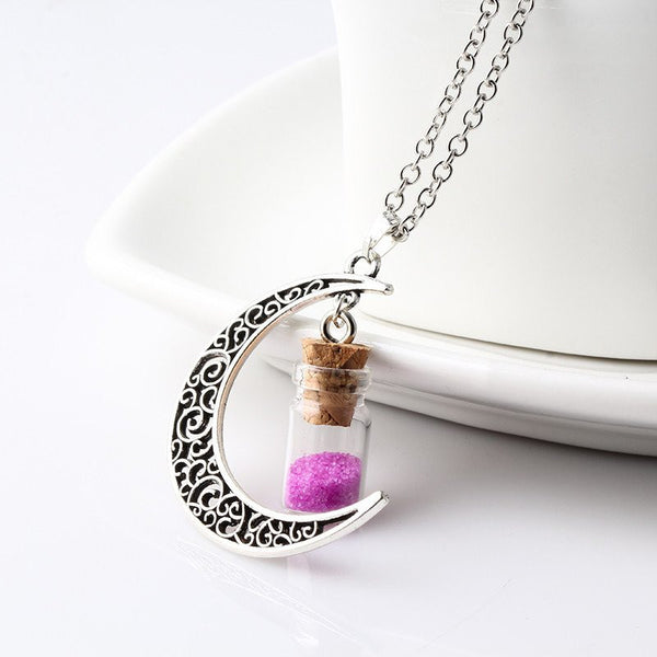 Rose Crescent Moon Necklace with Wishing Beads