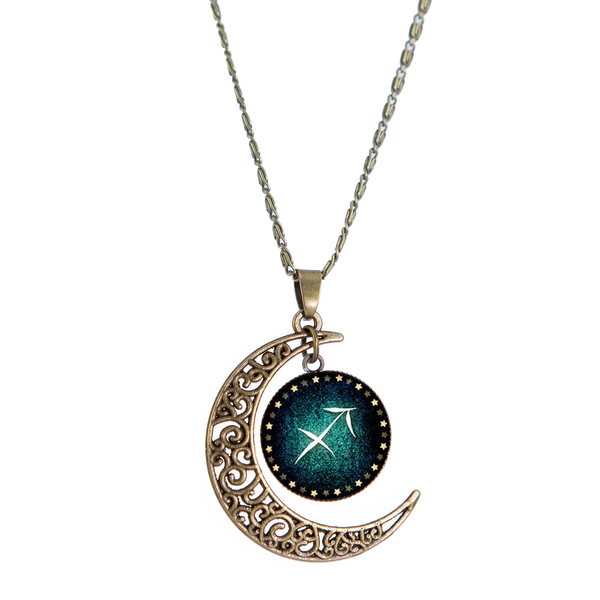 Sagittarius Bronze Crescent Moon Necklace
