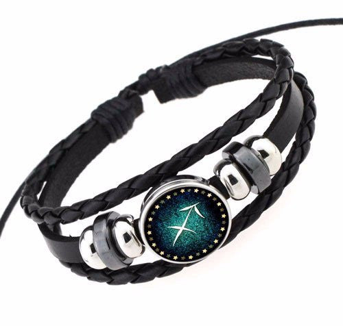 Sagittarius Black Leather Zodiac Bracelet
