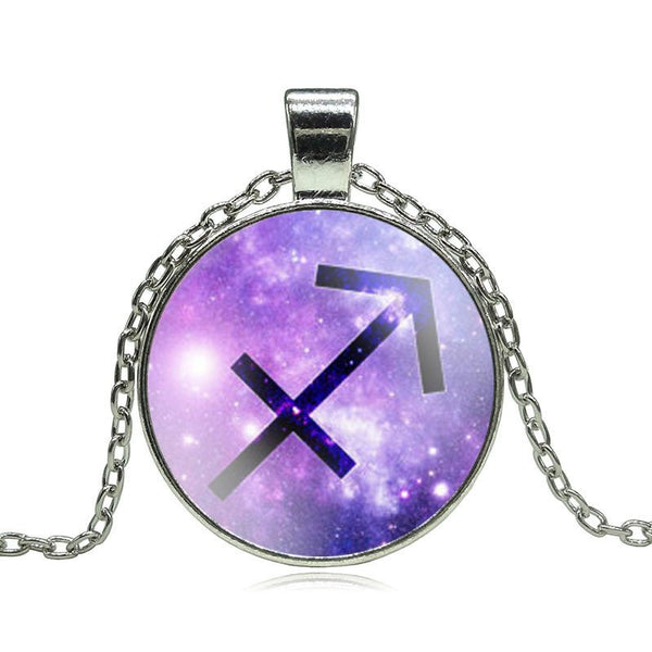 Sagittarius Purple Medallion Necklace