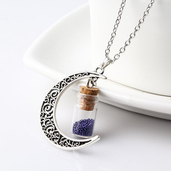 Sapphire Crescent Moon Necklace with Wishing Beads