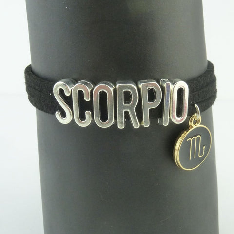 Aquarius Black and Silver Zodiac Charm Bracelet