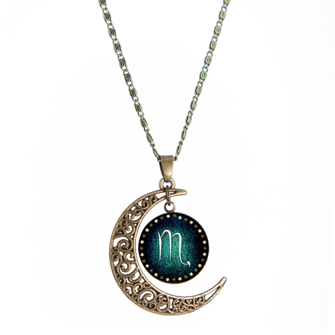 Aquarius Bronze Crescent Moon Necklace