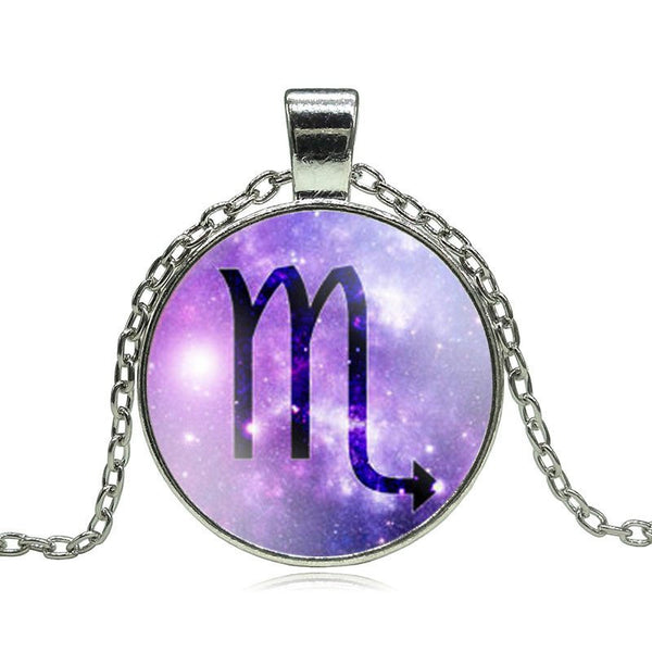 Scorpio Purple Medallion Necklace