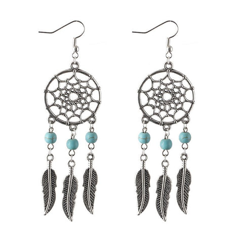 Silver Dream Catcher Earrings with Turquoise