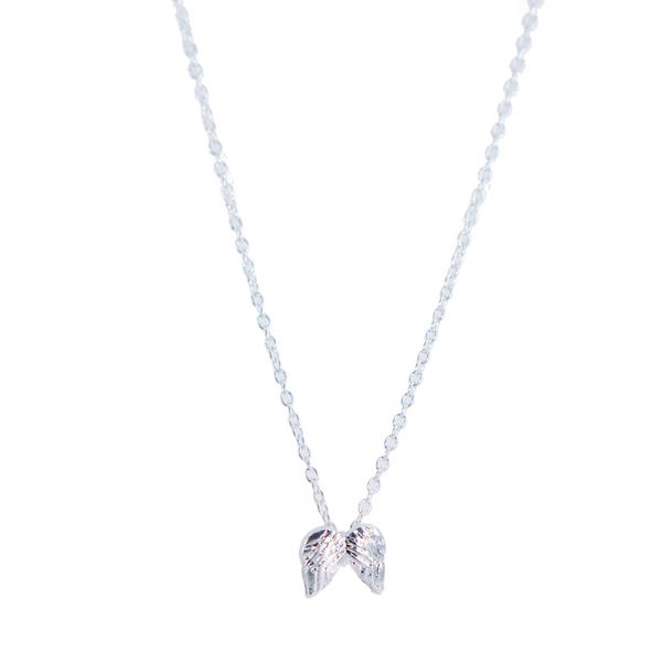 Silver Plated Dainty Necklace with Angel Wings