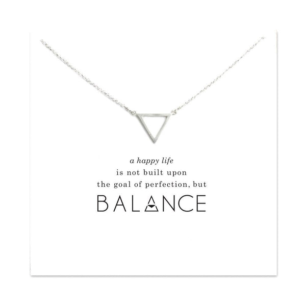 Silver Plated Simple Necklace with Triangle Pendant