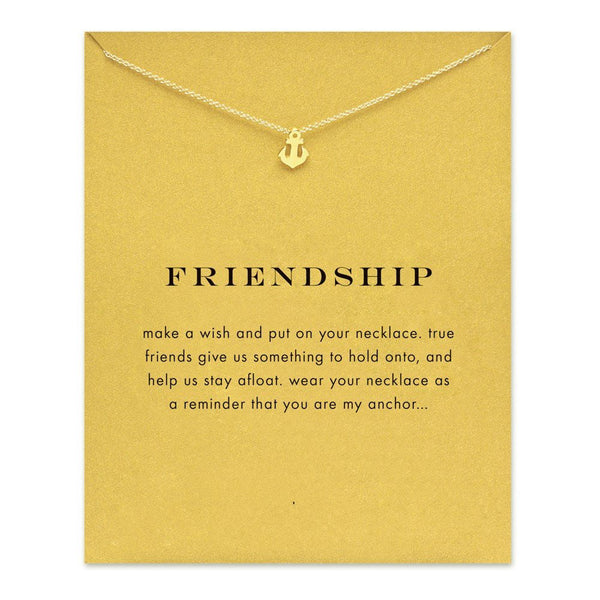Simple Gold Necklace with Anchor Charm with Gift Card