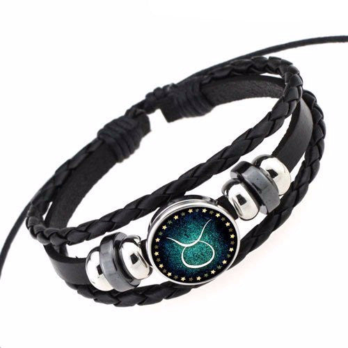 Black Leather Zodiac Bracelet