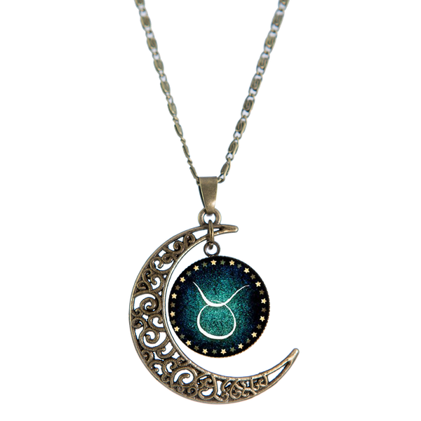 Taurus Bronze Crescent Moon Necklace