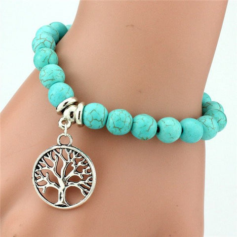 Tree of Life Turquoise Beaded Bracelet with Charm