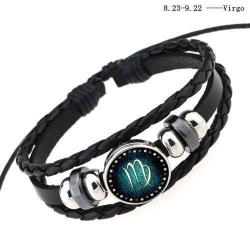 Virgo Black Leather Zodiac Bracelet