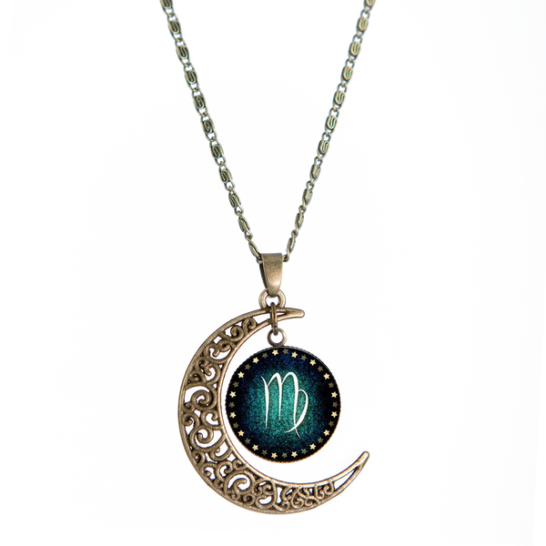 Virgo Bronze Crescent Moon Necklace