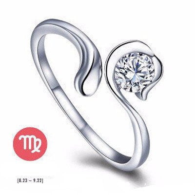 Virgo Silver Zodiac Ring