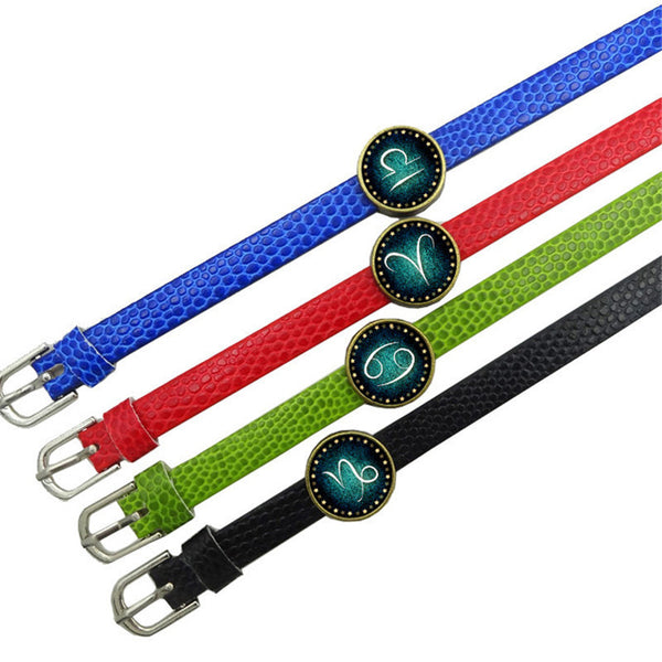 Zodiac Charm Leather Wristband (Red Green Blue Black)