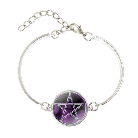 Purple Pentagram Pendant Bracelet