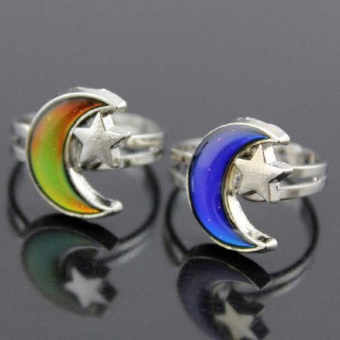 crescent moon and star mood ring changing colors