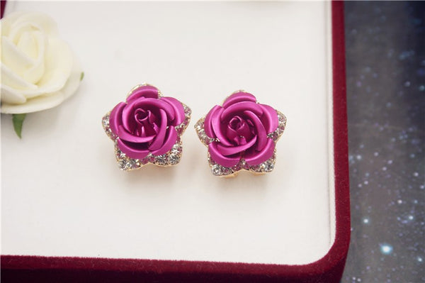 Rose Earrings with Crystal Outline