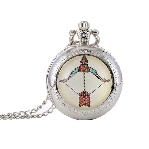animal sign zodiac silver pocket watch