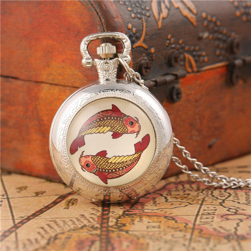 pisces zodiac sign animal silver pocket watch
