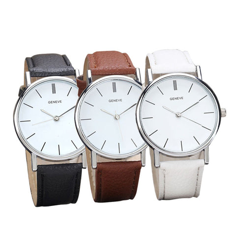 Everyday Watch with Leather Straps (Various Colors)