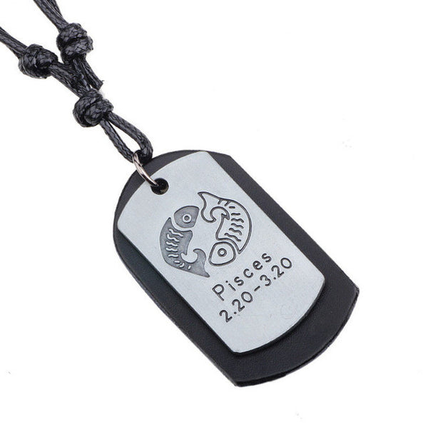 Black Zodiac Dog Tag Necklace