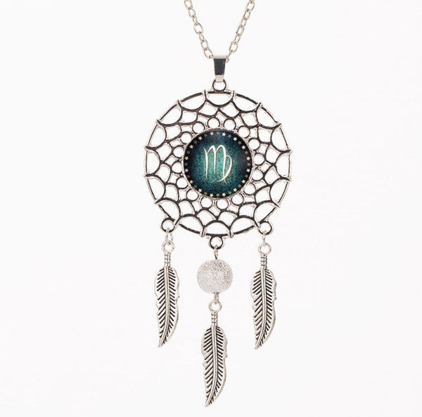 Zodiac Sign Dream Catcher Necklace