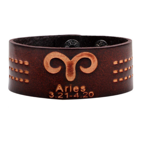 Handmade Brown Leather Zodiac Bracelet