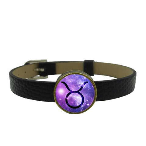 Leather Wristband w/ Purple Zodiac Charm